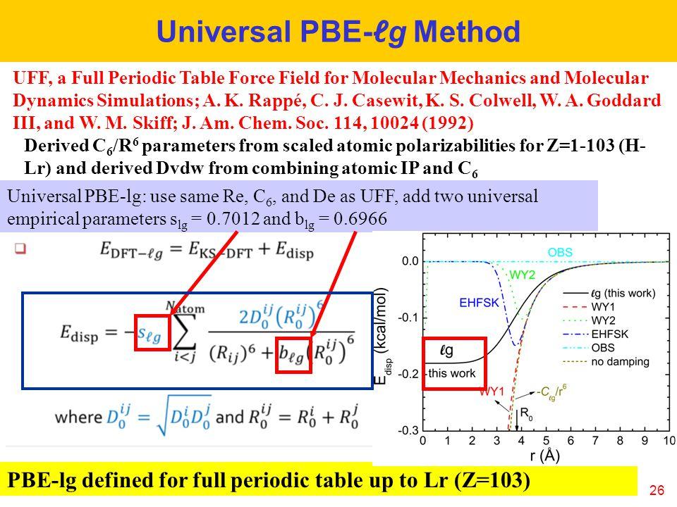Universal PBE-ℓg Method