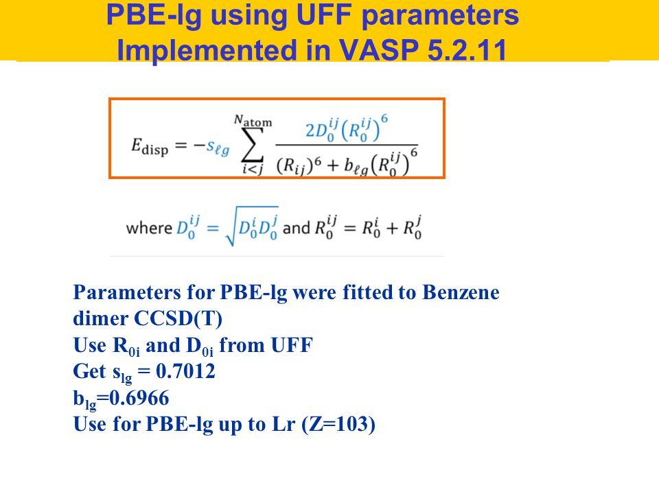 PBE-lg using UFF parameters Implemented in VASP 5.2.11