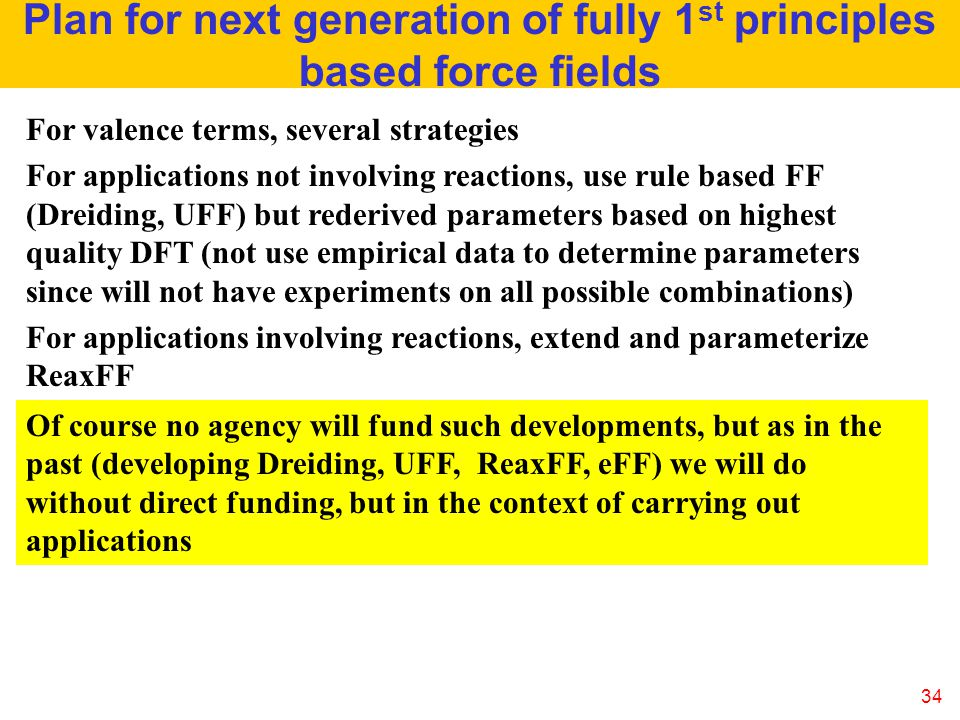 Plan for next generation of fully 1st principles based force fields