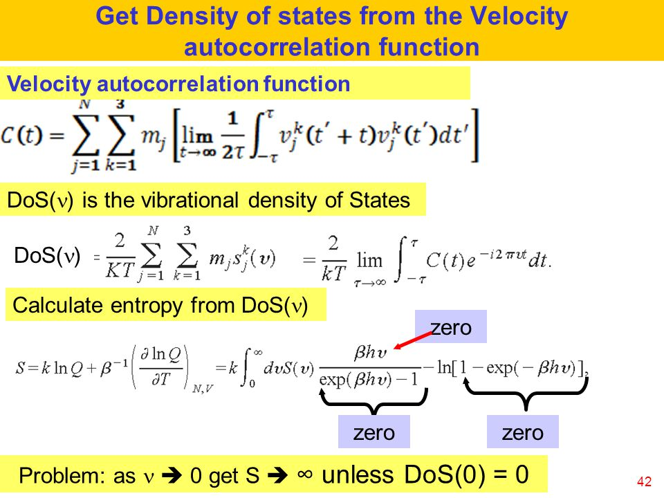 Get Density of states from the Velocity autocorrelation function