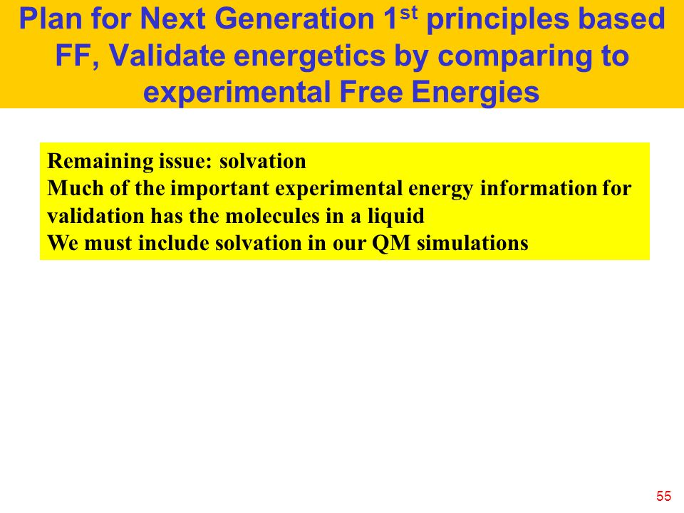 Plan for Next Generation 1st principles based FF, Validate energetics by comparing to experimental Free Energies