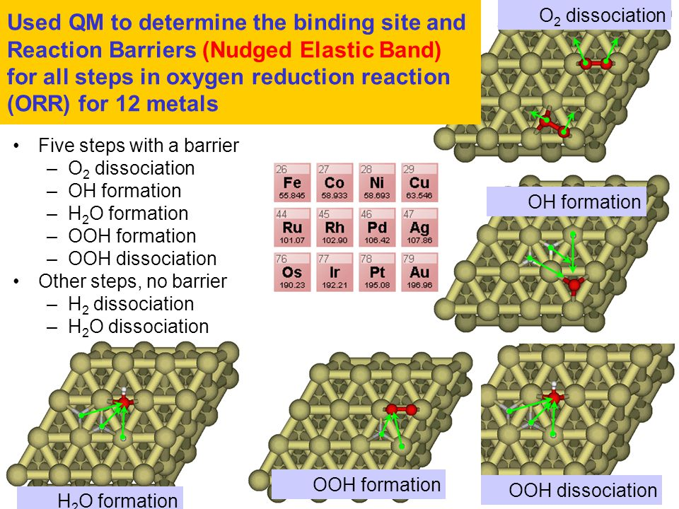 Used QM to determine the binding site and Reaction Barriers (Nudged Elastic Band) for all steps in oxygen reduction reaction (ORR) for 12 metals