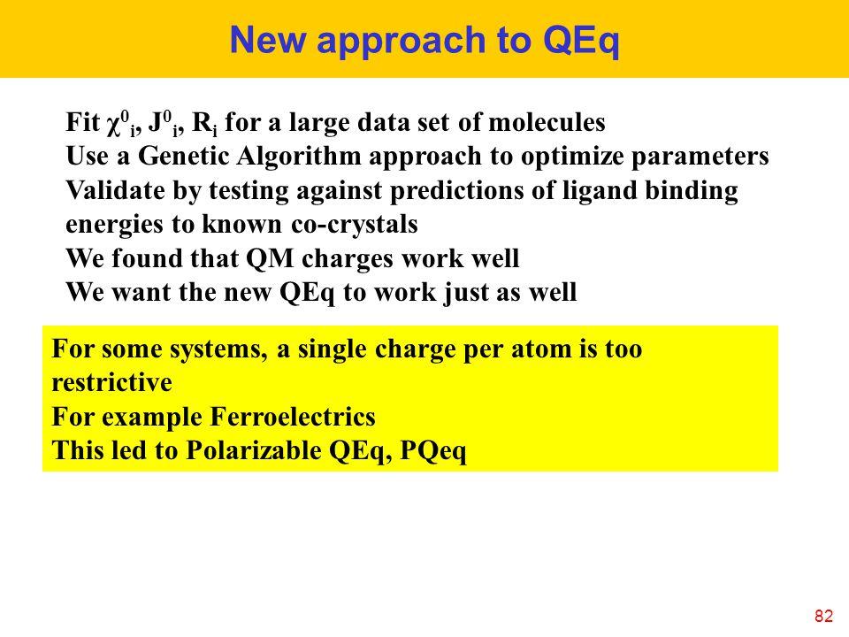 New approach to QEq Fit χ0i, J0i, Ri for a large data set of molecules