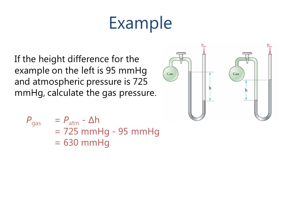 Example If the height difference for the example on the left is 95 mmHg and atmospheric pressure is 725 mmHg, calculate the gas pressure.
