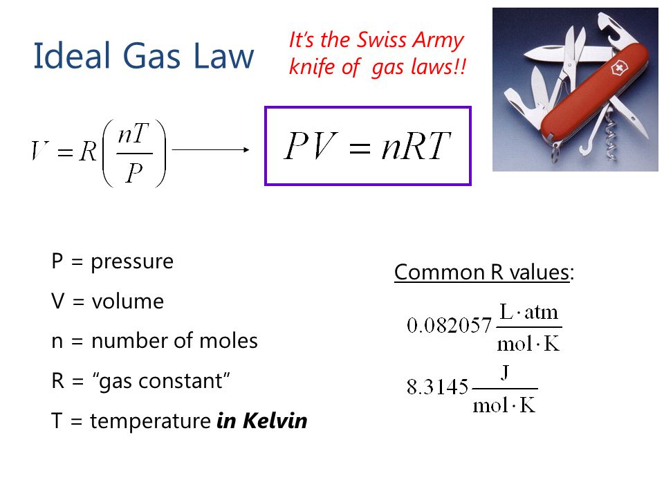Ideal Gas Law It's the Swiss Army knife of gas laws!! P = pressure