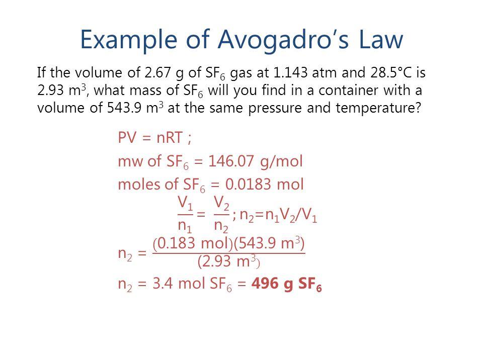Example of Avogadro's Law