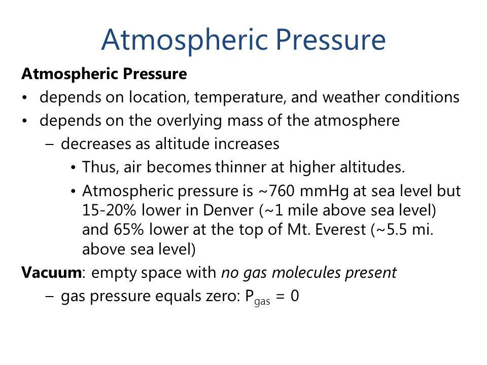 Atmospheric Pressure Atmospheric Pressure