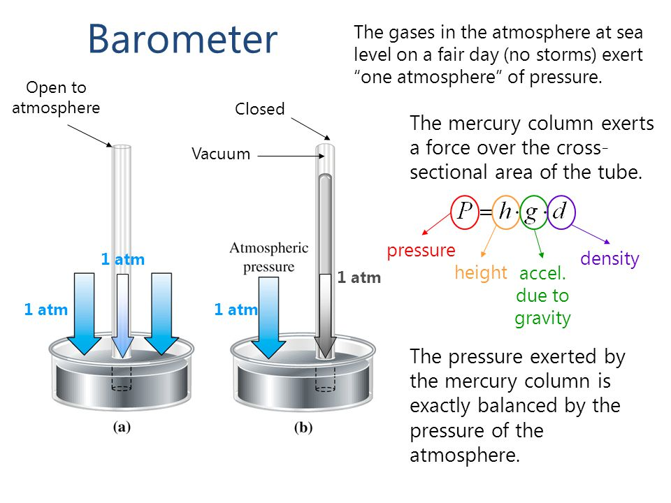 Barometer The gases in the atmosphere at sea level on a fair day (no storms) exert one atmosphere of pressure.