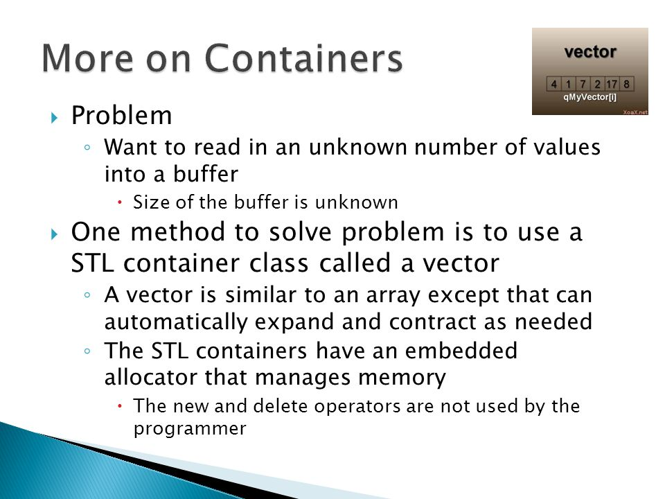 More on Containers Problem