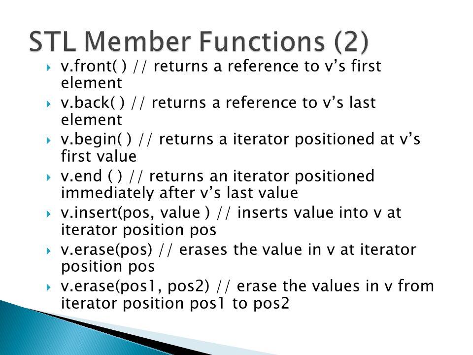 STL Member Functions (2)