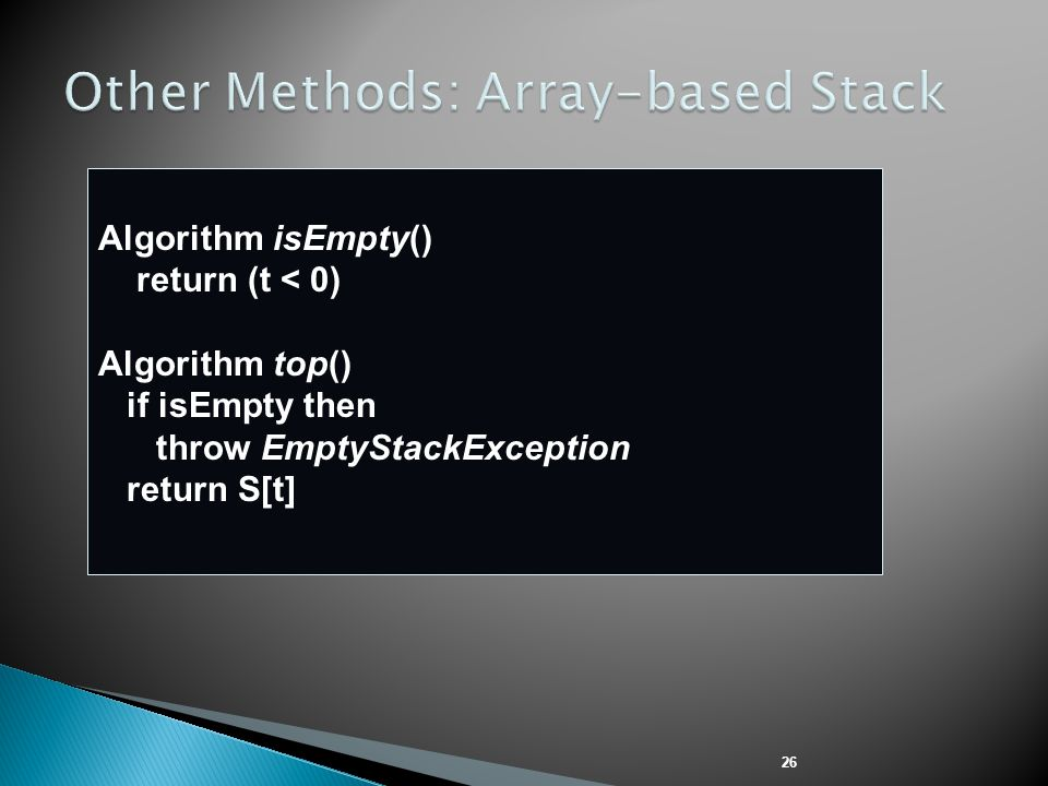 Other Methods: Array-based Stack