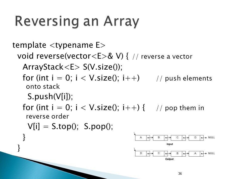 Reversing an Array template <typename E>