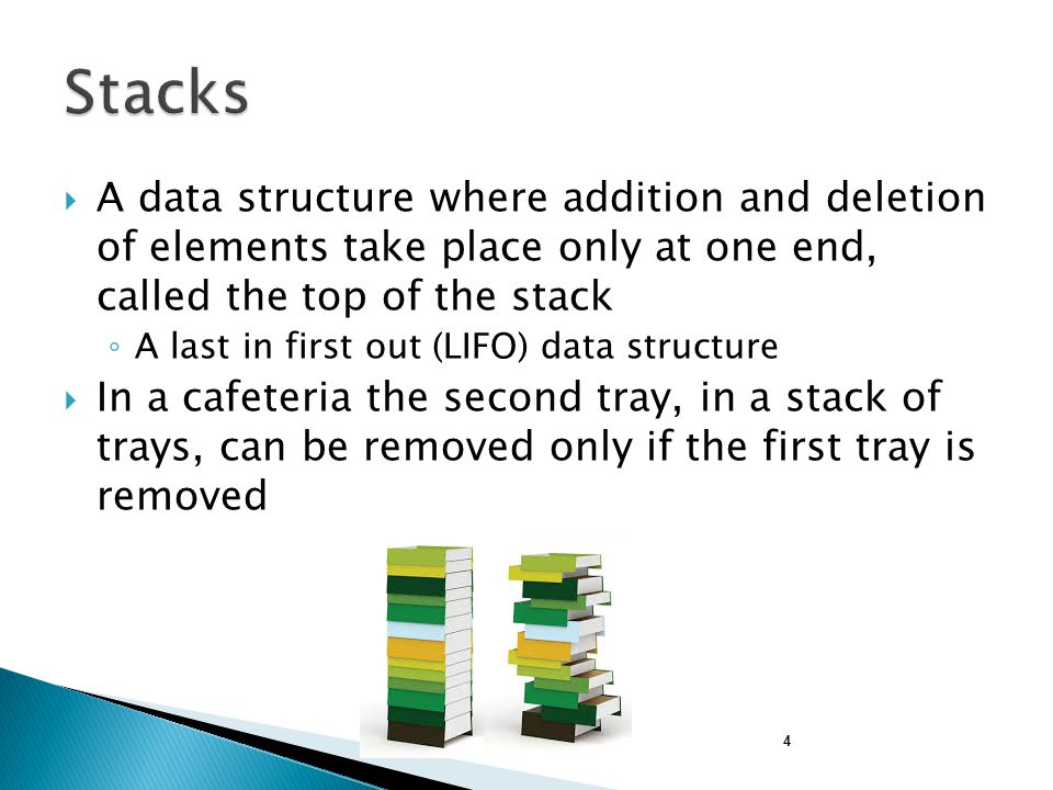 Stacks A data structure where addition and deletion of elements take place only at one end, called the top of the stack.