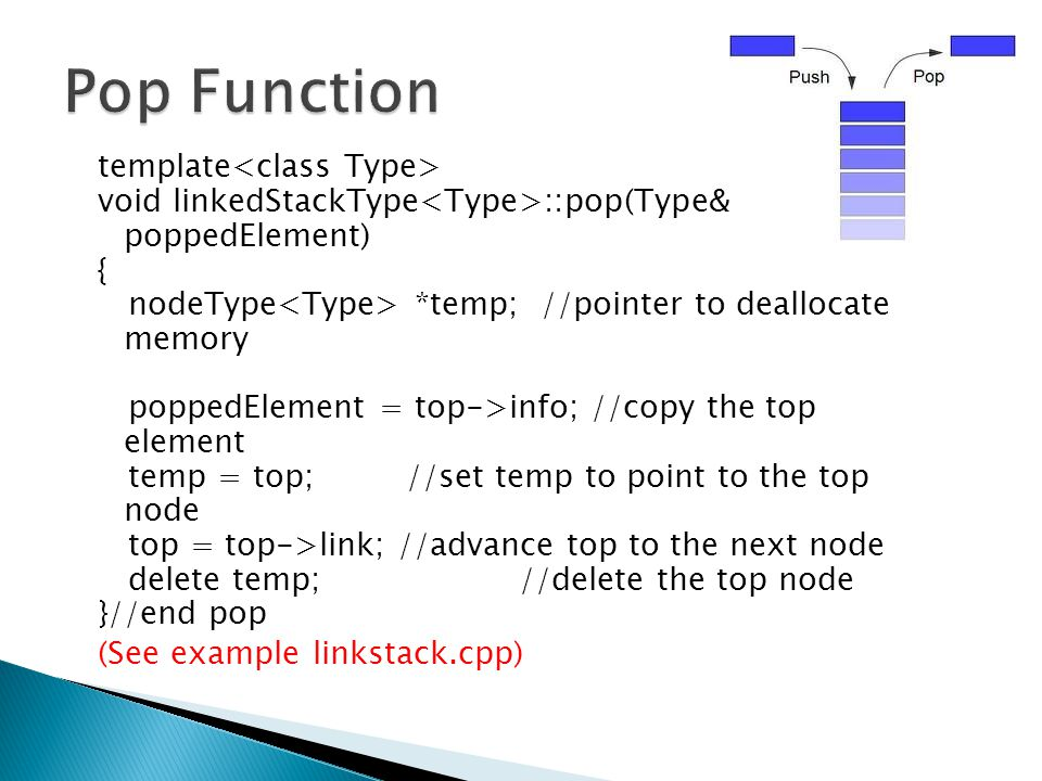 Pop Function template<class Type>