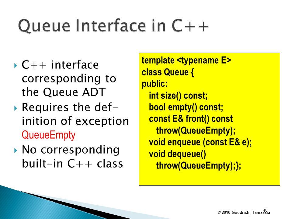 Queue Interface in C++ C++ interface corresponding to the Queue ADT