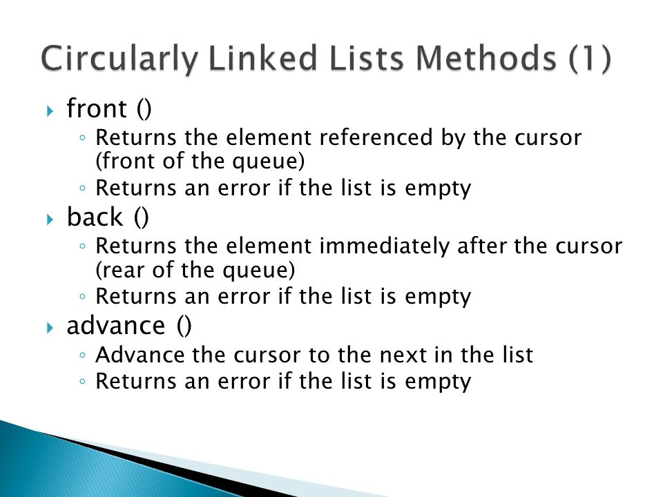 Circularly Linked Lists Methods (1)