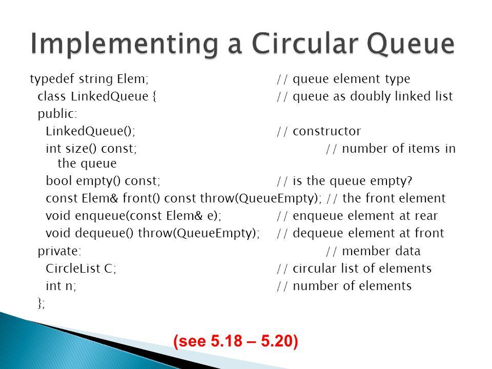 Implementing a Circular Queue