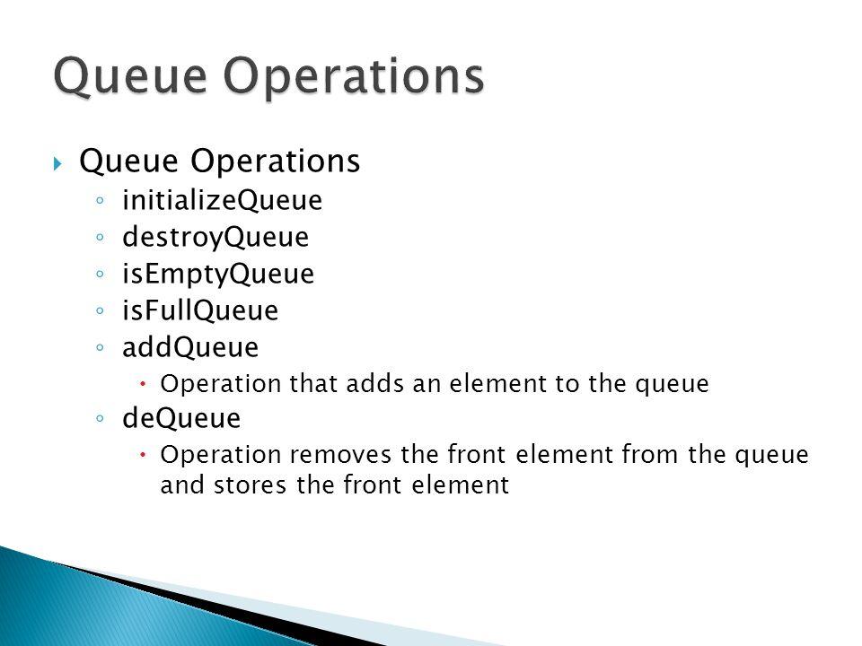 Queue Operations Queue Operations initializeQueue destroyQueue