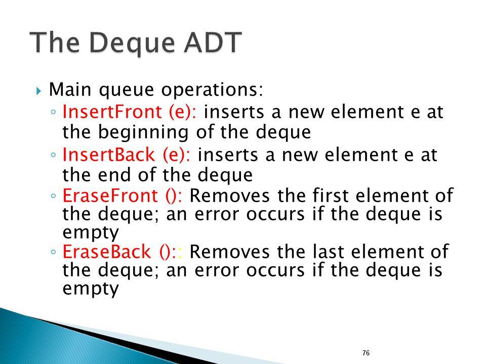 The Deque ADT Main queue operations: