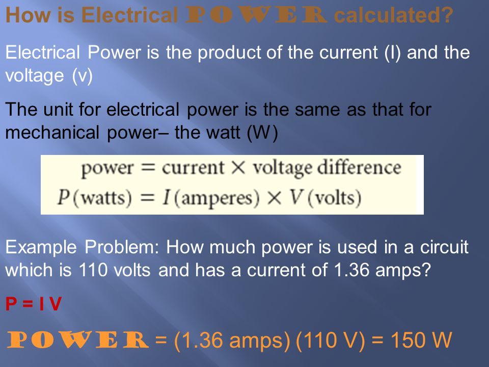 How is Electrical Power calculated