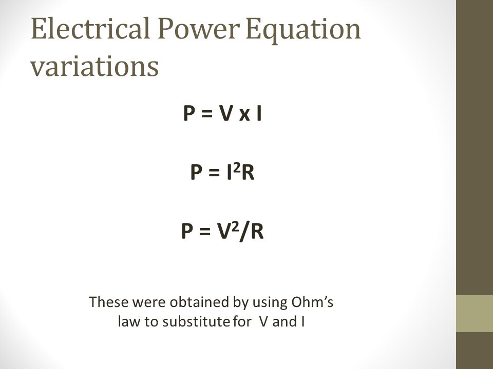 Electrical Power Equation variations
