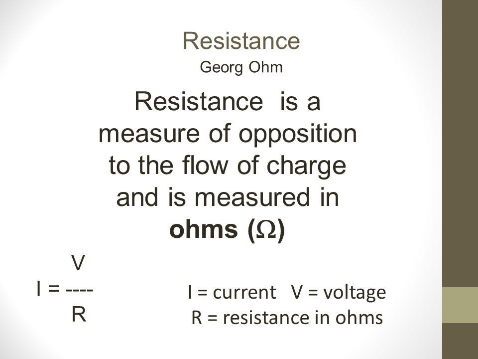 I = current V = voltage R = resistance in ohms