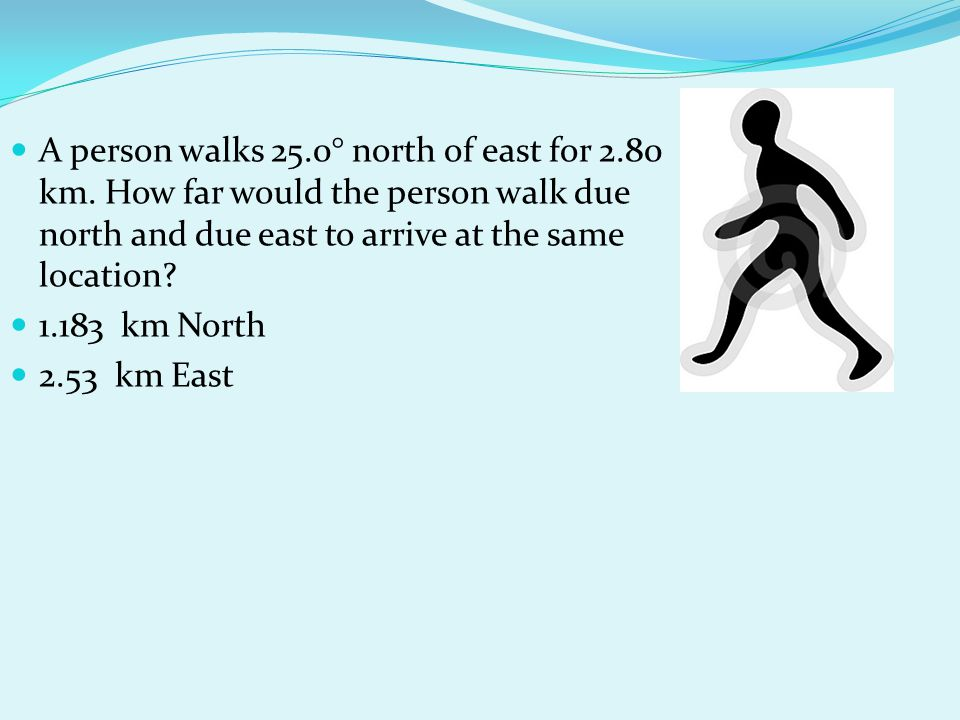 A person walks 25. 0° north of east for 2. 80 km