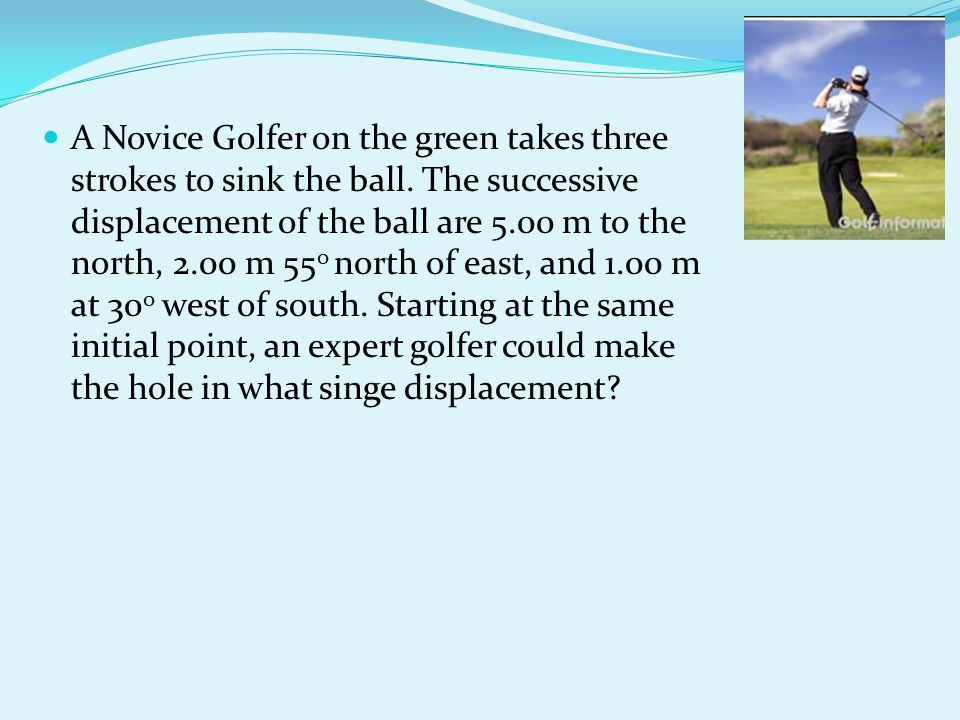 A Novice Golfer on the green takes three strokes to sink the ball