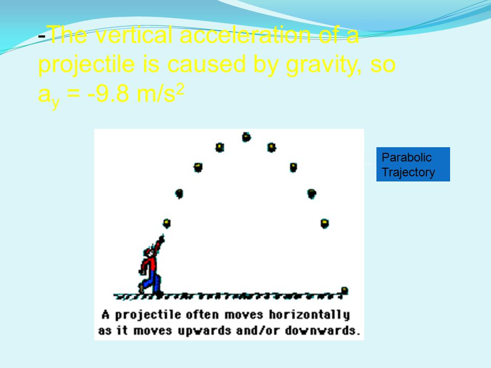 -The vertical acceleration of a projectile is caused by gravity, so ay = -9.8 m/s2