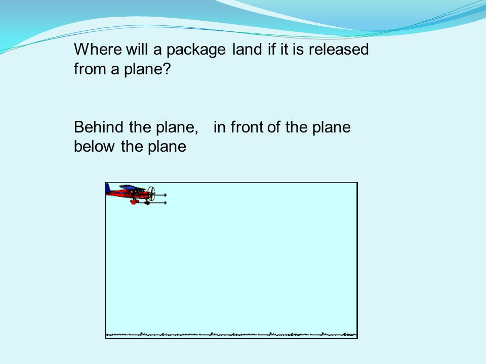 Where will a package land if it is released from a plane