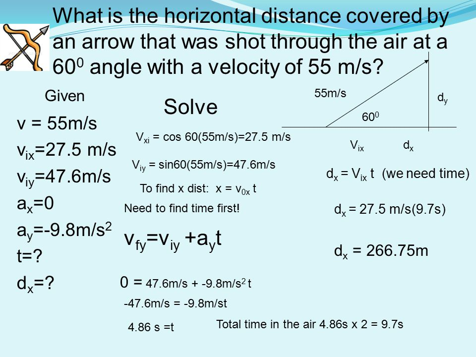 What is the horizontal distance covered by an arrow that was shot through the air at a 600 angle with a velocity of 55 m/s