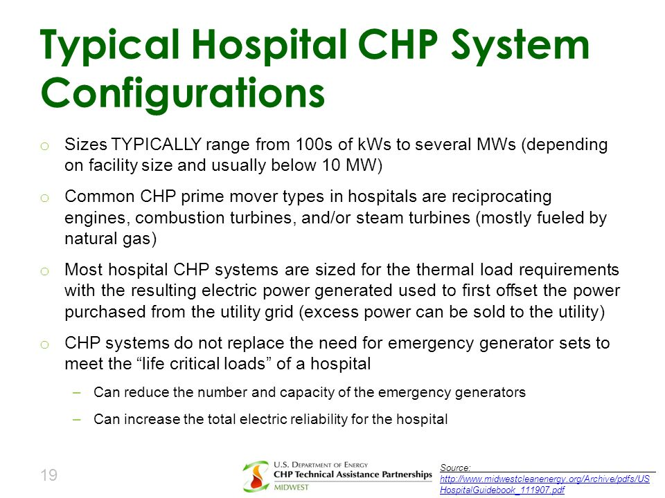 Typical Hospital CHP System Configurations