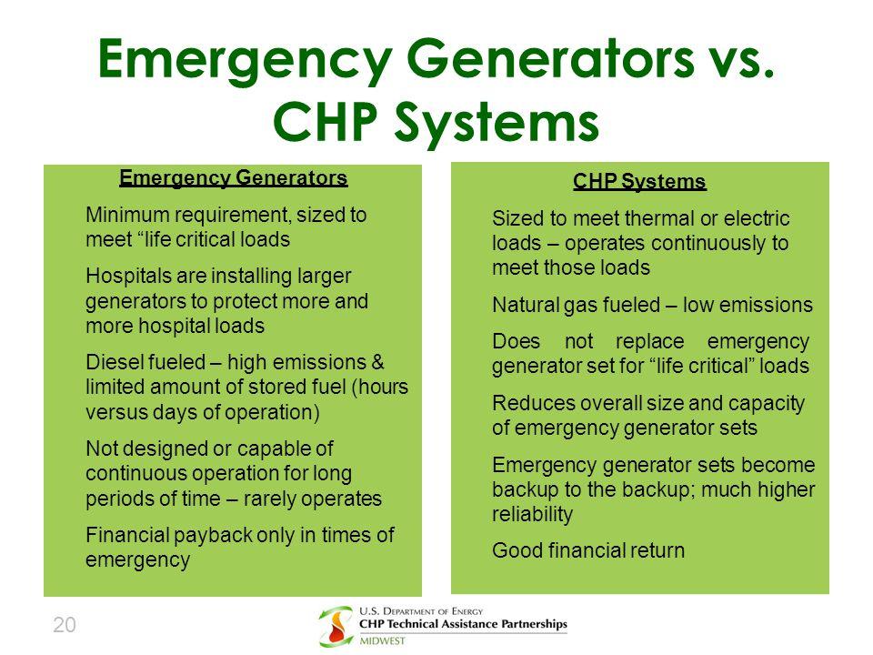Emergency Generators vs. CHP Systems