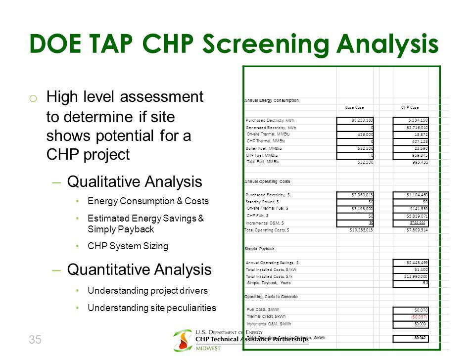 DOE TAP CHP Screening Analysis