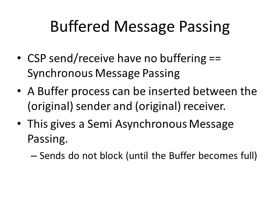 Buffered Message Passing