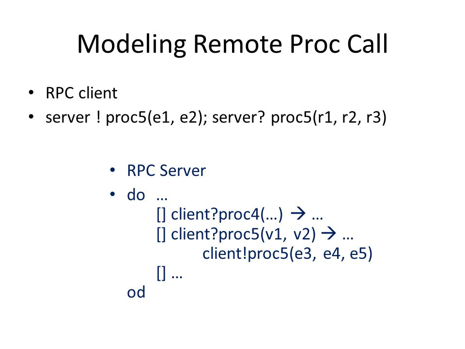 Modeling Remote Proc Call