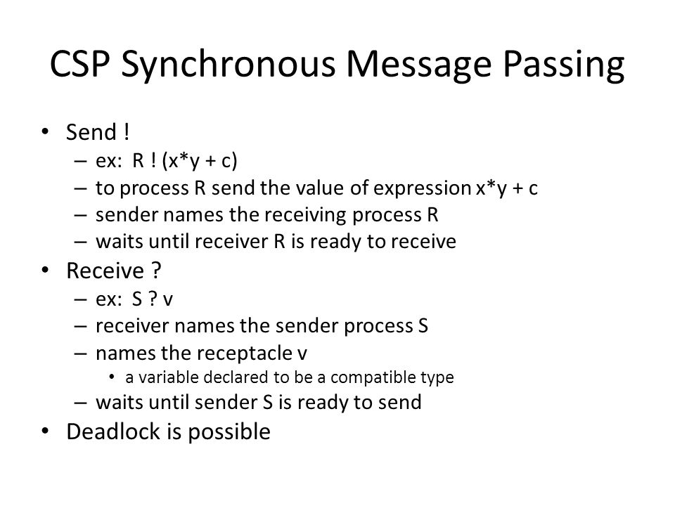 CSP Synchronous Message Passing