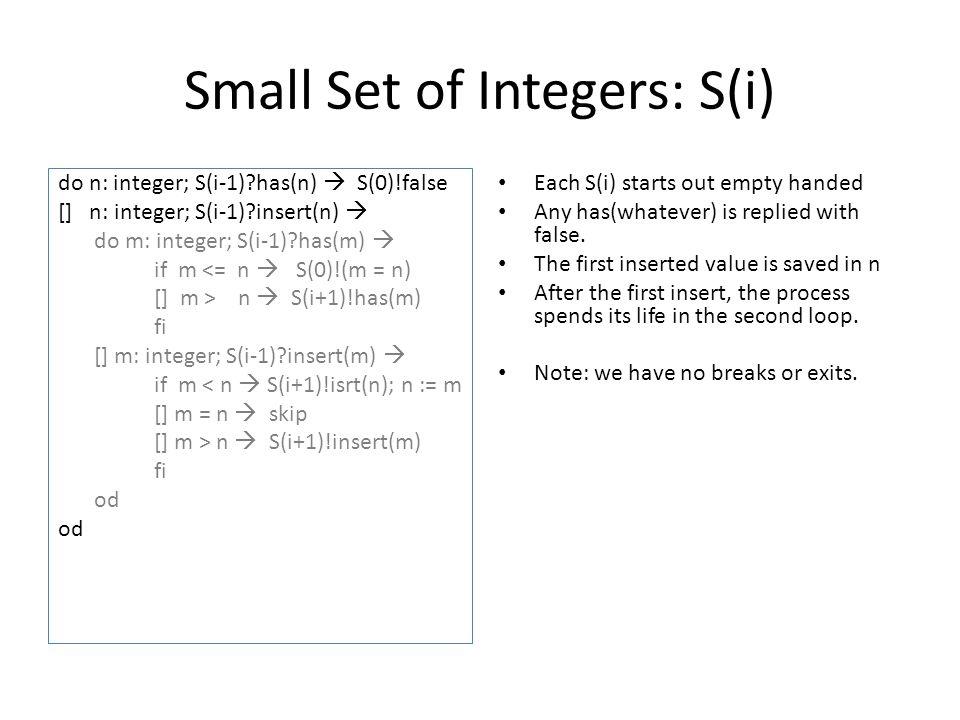 Small Set of Integers: S(i)