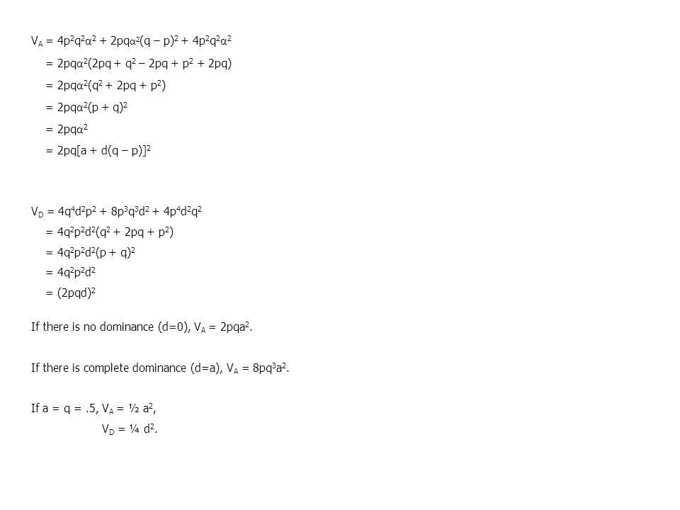 VA = 4p2q2α2 + 2pqα2(q – p)2 + 4p2q2α2 = 2pqα2(2pq + q2 – 2pq + p2 + 2pq) = 2pqα2(q2 + 2pq + p2) = 2pqα2(p + q)2.