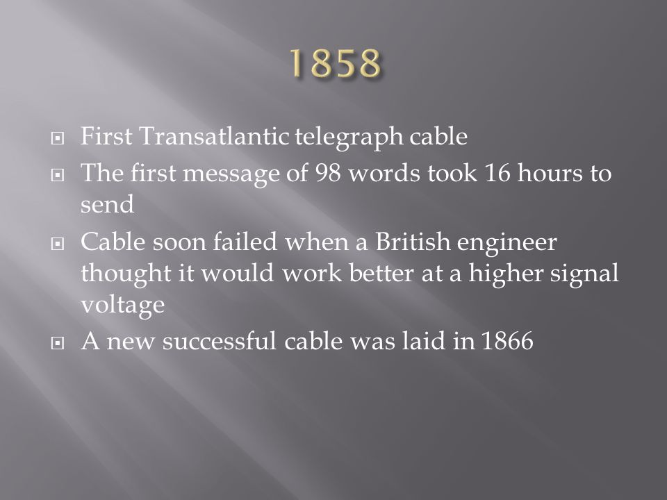 1858 First Transatlantic telegraph cable