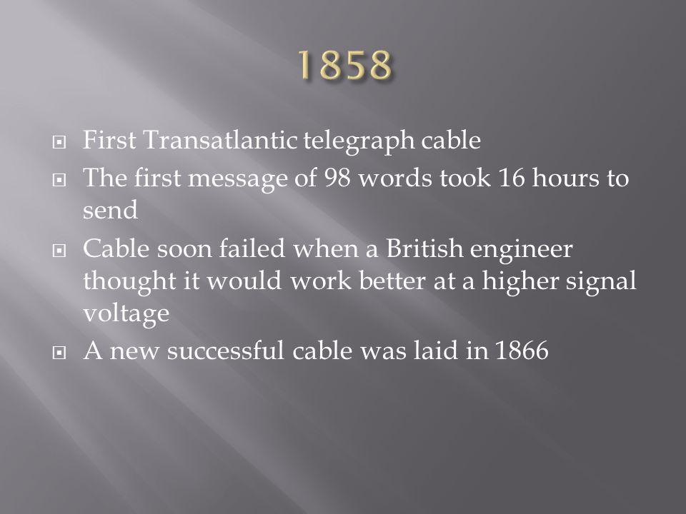 1858 First Transatlantic telegraph cable