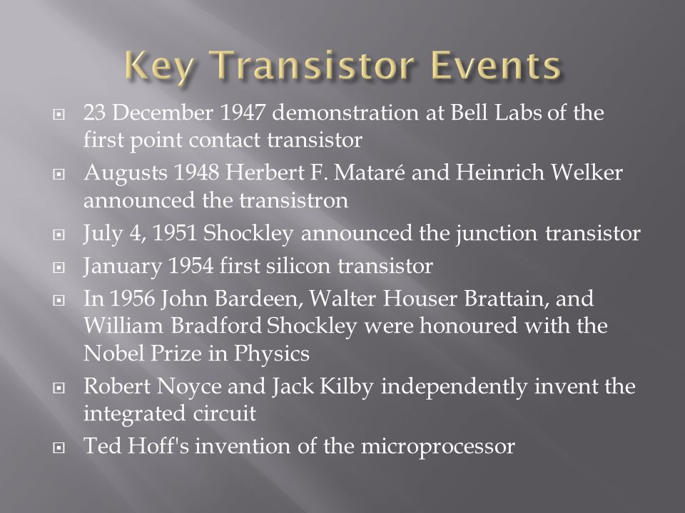Key Transistor Events 23 December 1947 demonstration at Bell Labs of the first point contact transistor.