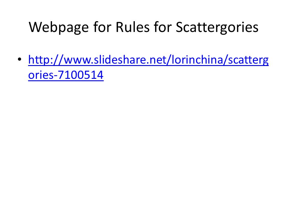 Webpage for Rules for Scattergories