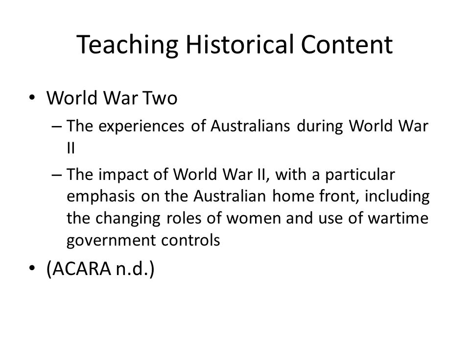 Teaching Historical Content