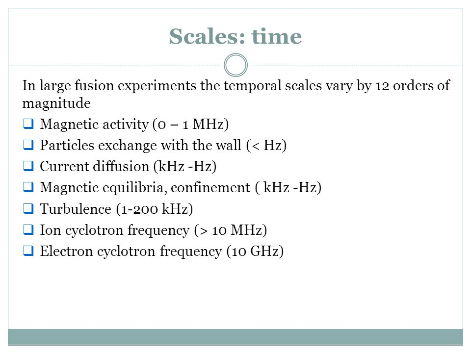 Scales: time In large fusion experiments the temporal scales vary by 12 orders of magnitude. Magnetic activity (0 – 1 MHz)