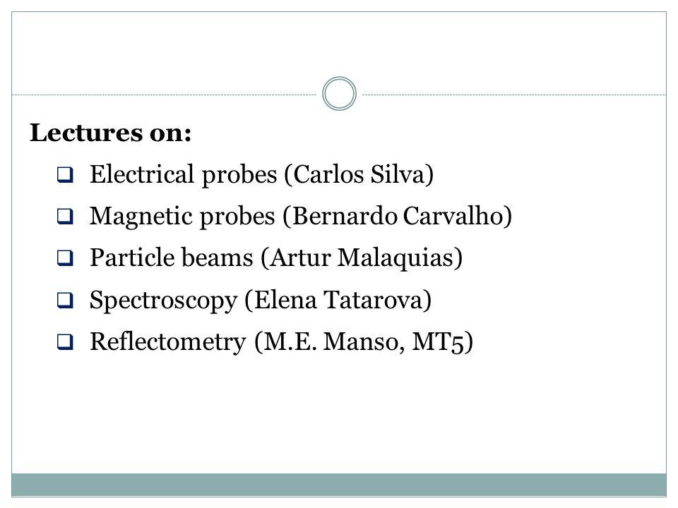 Lectures on: Electrical probes (Carlos Silva) Magnetic probes (Bernardo Carvalho) Particle beams (Artur Malaquias)