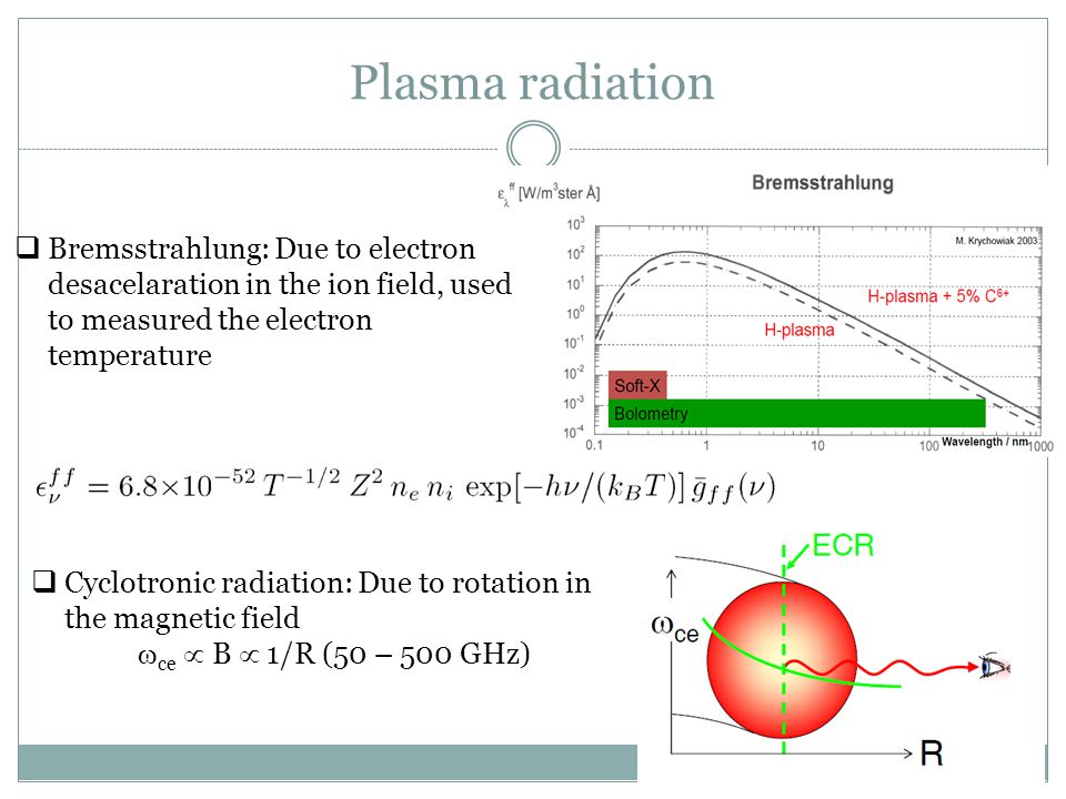 Plasma radiation Bremsstrahlung: Due to electron desacelaration in the ion field, used to measured the electron temperature.