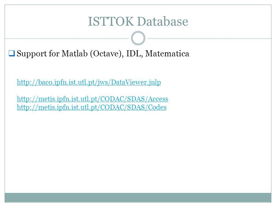 ISTTOK Database Support for Matlab (Octave), IDL, Matematica