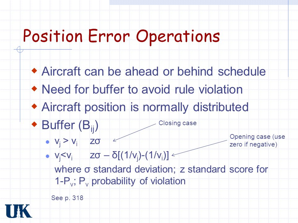 Position Error Operations