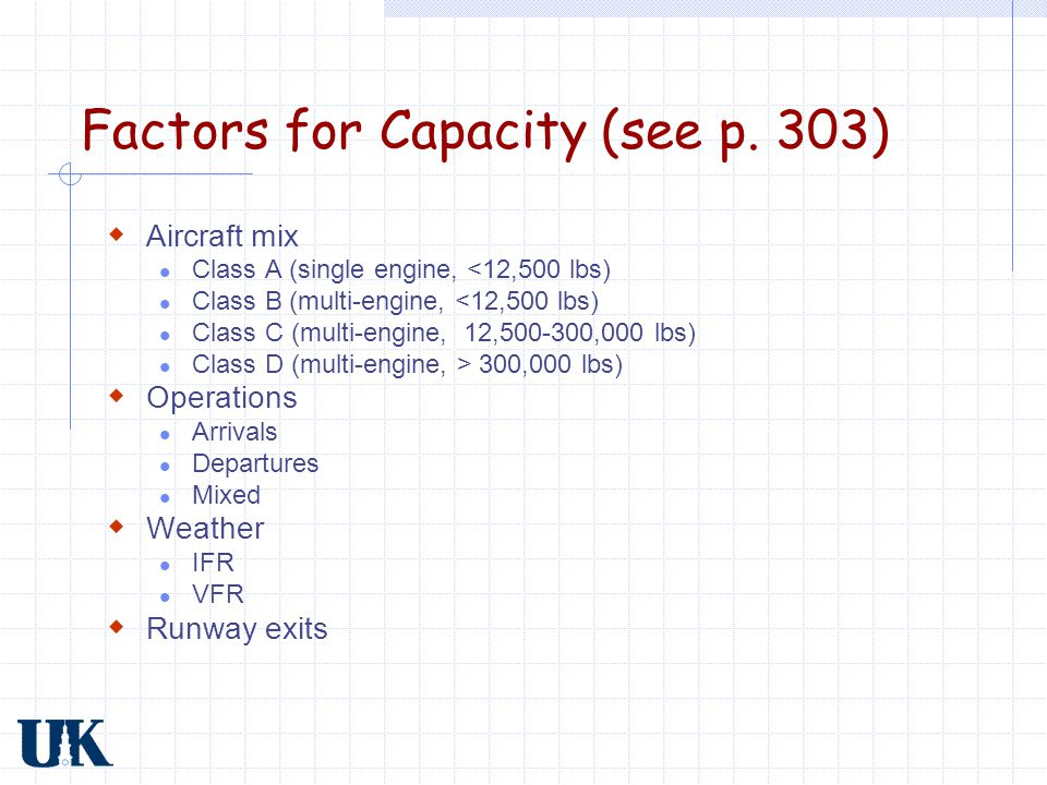 Factors for Capacity (see p. 303)